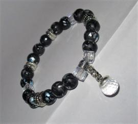 Armband dripart zwart/crystal